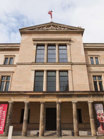 recently: BERLIN, GERMANY - MAY 10, 2014: The Neues Museum in Museumsinsel has been recently restored by British architect David Chipperfield