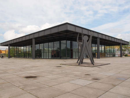 der: BERLIN, GERMANY - MAY 09, 2014: The Neue Nationalgalerie art gallery is a masterpiece of modern architecture designed by Mies Van Der Rohe in 1968 as part of the Kulturforum