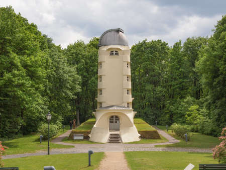 the theory of relativity: POTSDAM, GERMANY - MAY 10, 2014: The Einstein Turm astrophysical observatory was designed by architect Erich Mendelsohn in 1917 for Albert Einstein to validate his Relativity Theory