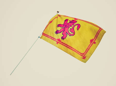 rampant: Vintage retro looking Scottish Royal Standard flag coat of arms with rampant lyon