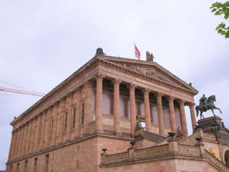alte: BERLIN, GERMANY - MAY 10, 2014: People visiting the Alte Nationalgalerie museum in Berlin Germany Editorial
