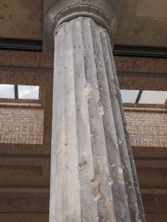 bombing: Column damaged by air raid bombing during WW2 in Berlin Museumsinsel Stock Photo