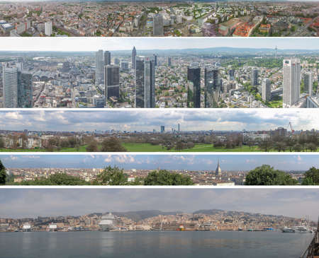 panoramas: EUROPE - MAY 25, 2014: Wide view panoramas of European cities including Berlin and Frankfurt am Main in Germany, London in UK and Turin and Genoa in Italy