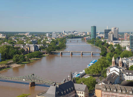 river main: FRANKFURT AM MAIN, GERMANY - JUNE 3, 2013: Aerial view of the city centre with the largest business district in Europe Editorial