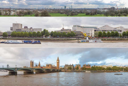panoramas: LONDON, UK - MAY 25, 2014: Panoramas of various views including the city skyline from Primrose Hill, The South Bank and The Houses of Parliament and River Thames
