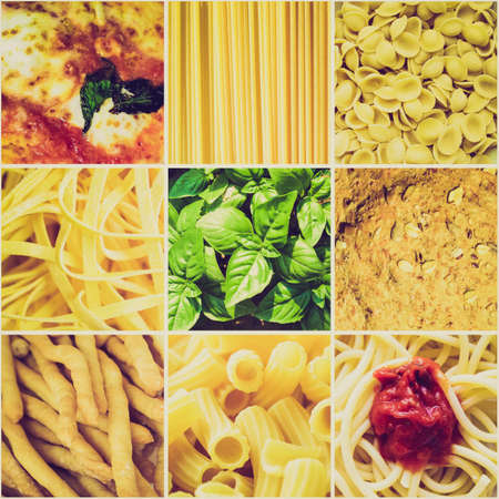 Vintage retro looking Italian food collage including 9 pictures of pasta, bread, pizza photo