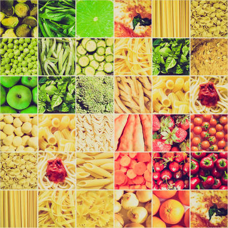 Vintage retro looking Food collage including pictures of vegetables, fruit, pasta and more photo