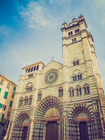 cattedrale: Vintage looking Genoa Cathedral aka Duomo di Genova or Cattedrale di San Lorenzo seat of the Archbishop of Genoa