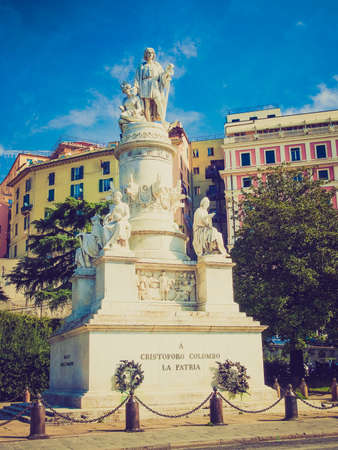 christopher columbus: Vintage looking Monument to Christopher Columbus in Genoa Italy Editorial