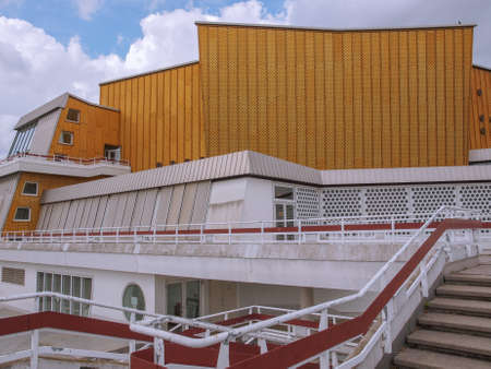 hans: BERLIN, GERMANY - MAY 09, 2014: The Berliner Philharmonie concert hall designed by German architect Hans Scharoun in 1961 is a masterpiece of modern architecture Editorial