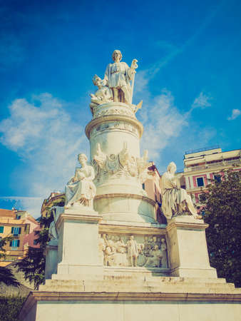 christopher columbus: Vintage looking Monument to Christopher Columbus in Genoa Italy Stock Photo