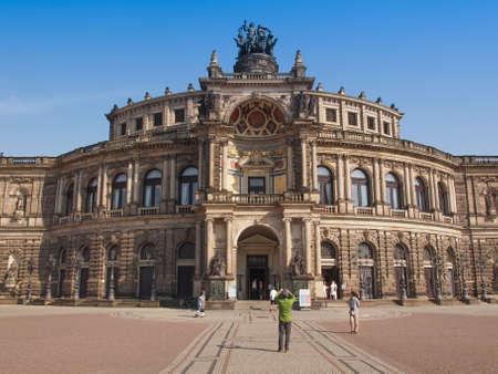 saxon: DRESDEN, GERMANY - JUNE 11, 2014: The Semperoper opera house of the Saxon State Orchestra aka Saechsische Staatsoper Dresden was designed by Gottfried Semper in 1841 Editorial
