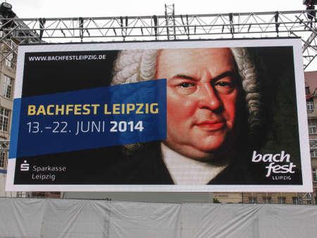 maxi: LEIPZIG, GERMANY - JUNE 14, 2014: Maxi screen at the Bachfest annual summer music festival celebrating baroque musician Johann Sebastian Bach in his town