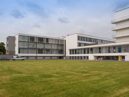 listed buildings: DESSAU, GERMANY - JUNE 13, 2014: The Bauhaus art school iconic building designed by architect Walter Gropius in 1925 is a listed masterpiece of modern architecture Editorial