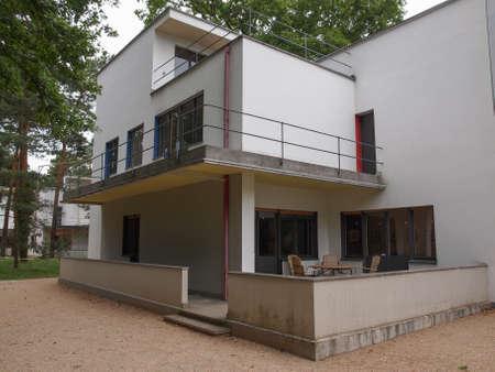 kandinsky: DESSAU, GERMANY - JUNE 13, 2014: Bauhaus masters houses designed in 1925 for Walter Gropius, Laszlo Moholy Nagy, Lyonel Feininger, Georg Muche, Oskar Schlemmer, Wassily Kandinsky and Paul Klee