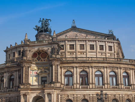 saxon: The Semperoper opera house of the Saxon State Orchestra aka Saechsische Staatsoper Dresden was designed by Gottfried Semper in 1841