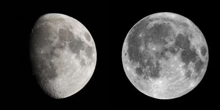 waxing gibbous: Waxing gibbous and full moon over black sky Stock Photo