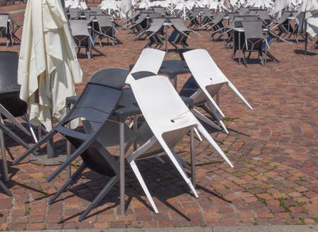 alfresco: Rows of chairs for outdoor dehors alfresco bar and live gig concert open air events