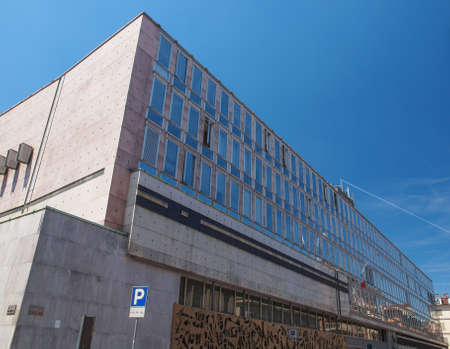 verdi: TURIN, ITALY - JUNE 20, 2014: The RAI palace in Via Verdi is the Italian state TV production centre and broadcasting house