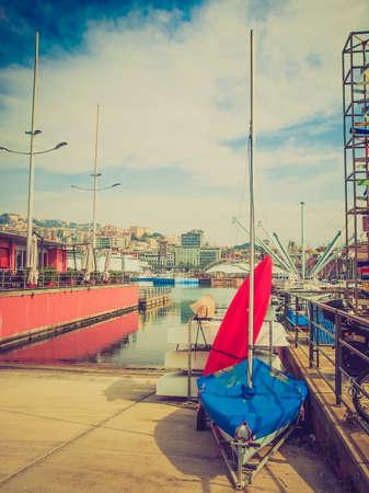 looking at view: Vintage guardando Veduta del Porto di Genova Italia