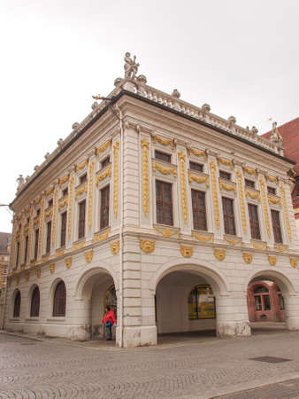 alte: LEIPZIG, GERMANY - JUNE 14, 2014: The Alte Handelsboerse meaning Old Stock Exchange is one of the oldest baroque buildings in Leipzig Germany