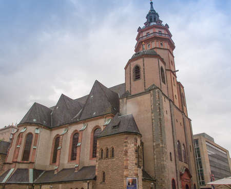 performed: LEIPZIG, GERMANY - JUNE 14, 2014: Nikolaikirch St Nicholas Church in Leipzig Germany where Johann Sebastian Bach performed the world premiere of St John Passion
