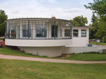 belonging: DESSAU, GERMANY - JUNE 13, 2014: Kornhaus meaning Granary is a restaurant designed by Carl Fieger in 1929 on the river Elbe in Dessau Rosslauer belonging to the Bauhaus
