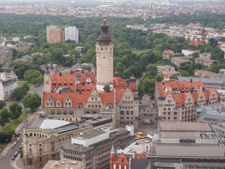 neues: Aerial view of the Leipzig Neues Rathaus meaning New Town Hall  is the seat of the Leipzig city administration designed by Hugo Licht in 1897 Stock Photo