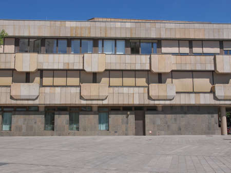 neues: LEIPZIG, GERMANY - JUNE 12, 2014: The Neues Gewandhaus new concert hall in Augustusplatz home of the Leipzig Gewandhaus Orchestra was designed by architect Rudolph Skoda in 1977