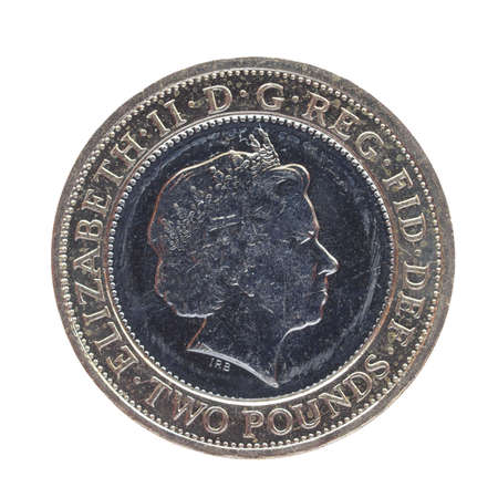 LONDON, UK - JUNE 28, 2014: Celebrative Two British Pound coin for the Anniversary of the Golden Guinea with HM the Queen Elizabeth II
