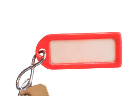 keyring: Red plastic keyring with label isolated over white background
