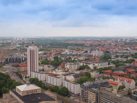 leipzig: LEIPZIG, GERMANY - JUNE 14, 2014: Aerial view of the city Editorial