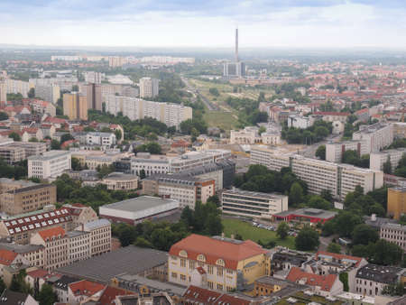 leipzig: LEIPZIG, GERMANY - JUNE 14, 2014: Aerial view of the city Stock Photo