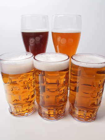 Many glasses of German beers including weiss dunkel and lager Stock Photo - 30541254