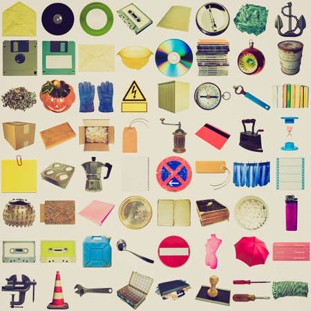 Vintage retro looking Many object isolated over a white background (all pictures in the collage are mine) photo