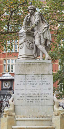 Statue of William Shakespeare (year 1874) in Leicester square London UK Editorial