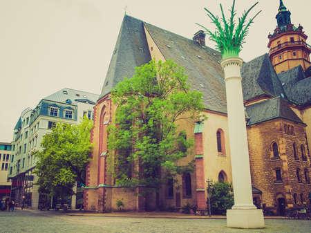 performed: Nikolaikirch St Nicholas Church in Leipzig Germany where Johann Sebastian Bach performed the world premiere of St John Passion Stock Photo