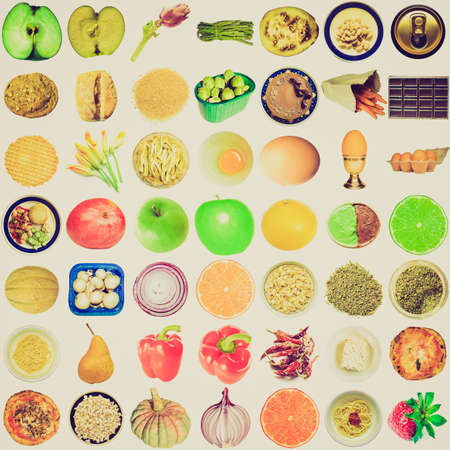Vintage retro looking Collage of food isolated over white background photo