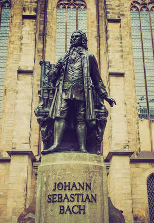 neues: The Neues Bach Denkmal meaning new Bach monument stands since 1908 in front of the St Thomas Kirche church where Johann Sebastian Bach is buried in Leipzig Germany