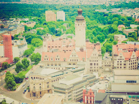rathaus: Aerial view of the city of Leipzig in Germany with the Neue Rathaus new council hall