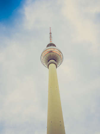 ddr: Vintage looking TV Fernsehturm Television tower in Berlin Germany Editorial