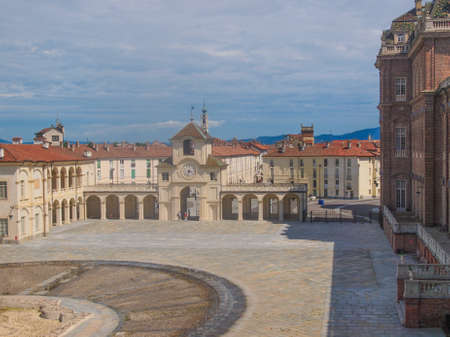 reale: VENARIA, ITALY - JULY 30, 2014: Tourists visiting the Reggia baroque royal palace in Venaria Reale Turin Italy Editorial