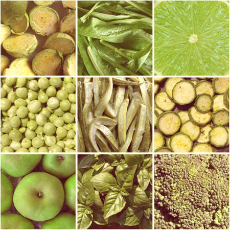 Vintage looking Food collage including 9 pictures of green vegetables photo