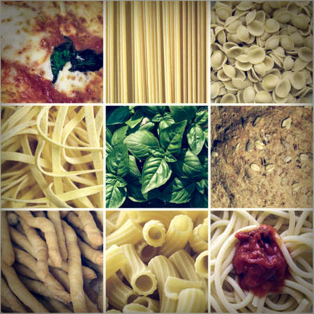 Vintage looking Italian food collage including 9 pictures of pasta, bread, pizza photo