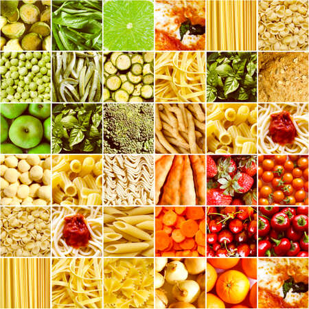 Vintage looking Food collage including pictures of vegetables, fruit, pasta and more photo
