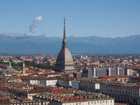 Turin skyline panorama seen from the hills surrounding the city