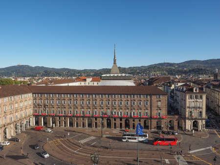 TURIN, ITALY - OCTOBER 22, 2014: The Teatro Regio Royal Theatre in Piazza Castello, the central baroque square is a major music venue in town