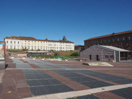 central chamber: TURIN, ITALY - OCTOBER 22, 2014: Piazzale Valdo Fusi is a large central square with a jazz club, a beer garden, the Museum of Natural History, the Chamber of Commerce