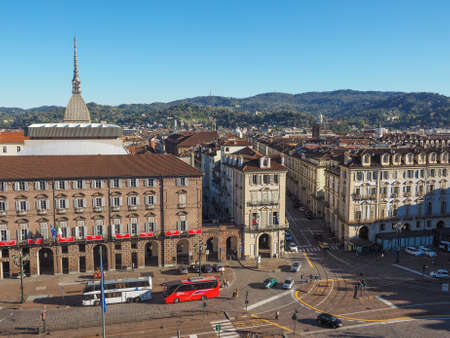 TURIN, ITALY - OCTOBER 22, 2014: Tourists visiting Piazza Castello, the central baroque square
