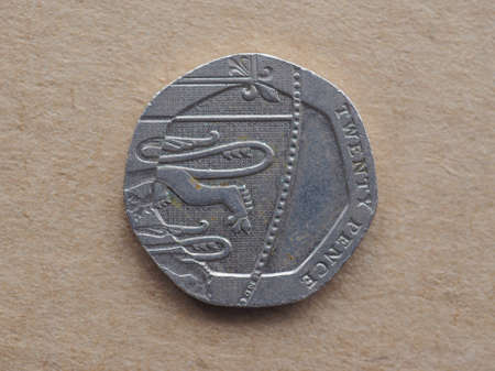 pence: Twenty pence coin currency of the United Kingdom